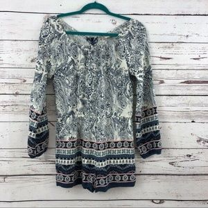 Altar'd State Paisley Lace Up Back Romper Large